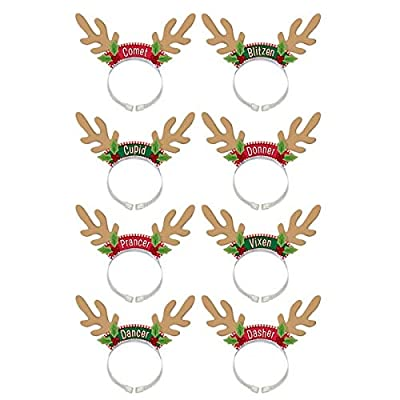 amscan Santa's Reindeer Headbands, 8 Ct. | Christmas Accessory: Toys & Games