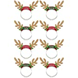 "Amscan Christmas & Holiday Party Santa's Reindeer Pack Headbands, 8"" x 7 7/8"", Multicolor"