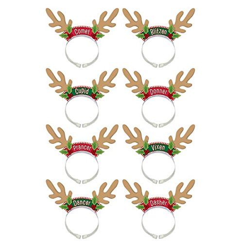 amscan Santa's Reindeer Headbands, 8 Ct. | Christmas Accessory -