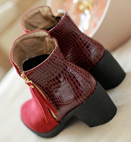 Idifu Kvinner Elegant Rund Tå Chunky Midten Hæler Side Zippe Ankel Boots Red