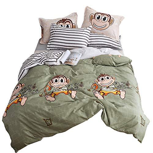 (LuDan Black and White Stripes Microfiber Monkey Duvet Cover Set Fashion Design Bedding Set Twin Full Queen King Set Size [3 Piece: Duvet Cover, 2 Pillow Cases] No Comforter (Monkey, Twin))