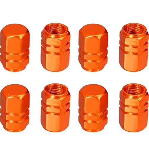 eBoot 8 Pieces Tire Stem Valve Caps Wheel Valve Covers Car Dustproof Tire Cap, Hexagon Shape (Orange)