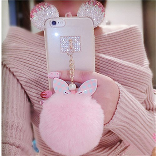 For Samsung Galaxy S8 Plus Crystal Glitter Bling Diamond Ears Bowknot Rabbit Fur Ball Soft Phone Back Cover Shockproof Protection Rubber Skin (Fit For Samsung Galaxy S8 Plus)