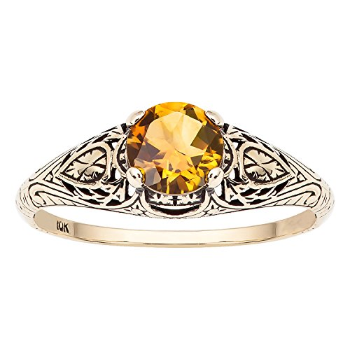 10k Yellow Gold Vintage Style Genuine Round Citrine Scroll Ring - 10k Gold Scroll Ring