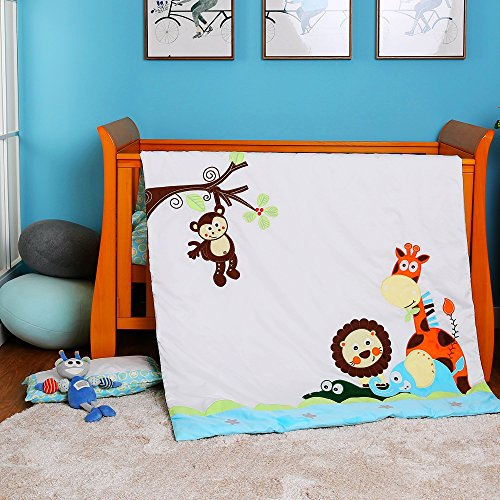 i-baby 3 Piece Crib Bedding Set Nursery Baby Bedding Set 100% Cotton Printed Sheet Duvet Pillow Bumper Cot Sets for Boys or Girls (Jungle Journey) from i-baby