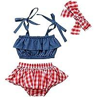Bebé Recién Nacida Ropa Verano 3 Piezas Conjunto Top Camiseta Corta sin Mangas + Pantalones Cortos de Cintura Elástica…