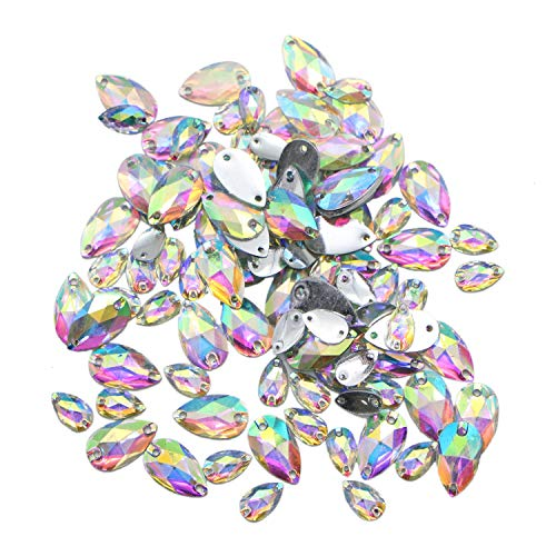 JETEHO 100 Pcs Clear AB Gems Flatback Sew On Gems Faceted Acrylic Imitation Crystal Rhinestones Flatback Fancy Stones Sewing for Clothing Dress Decorations
