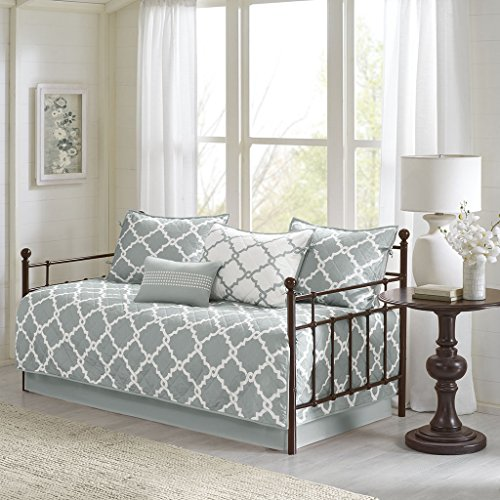 Madison Park Essentials Merritt Daybed Size Quilt Bedding Set – Grey, Geometric – 6 Piece Bedding Quilt Coverlets – Ultra Soft Microfiber Bed Quilts Quilted Coverlet