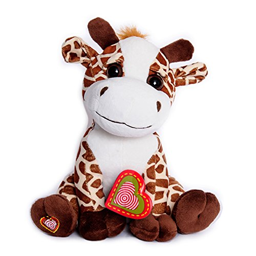 My Baby's Heartbeat Bear - Giraffe Stuffed Animal w/ 20 sec Voice Recorder - Lil 8