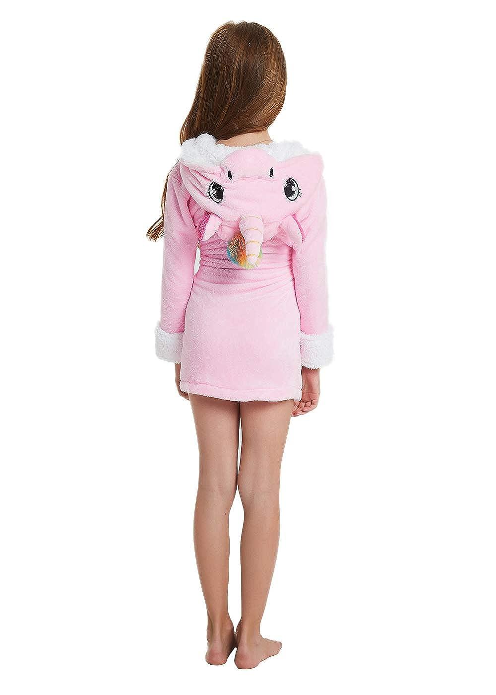 Boys Girls Robe Kids Unicorn Bathrobe Hooded Sleepwear Soft Loungewear Pajamas