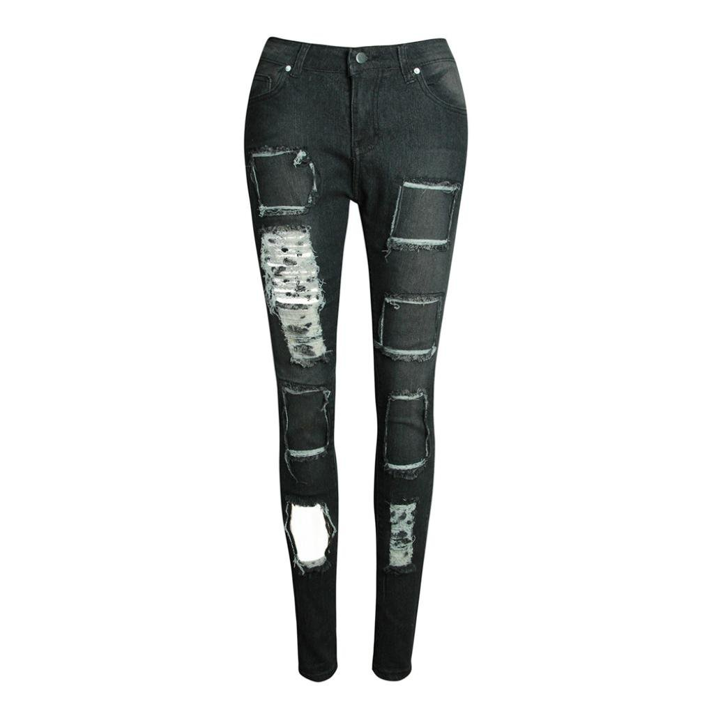 Amazon.com: Dingji Womens Casual Jeans, Ripped Trousers ...