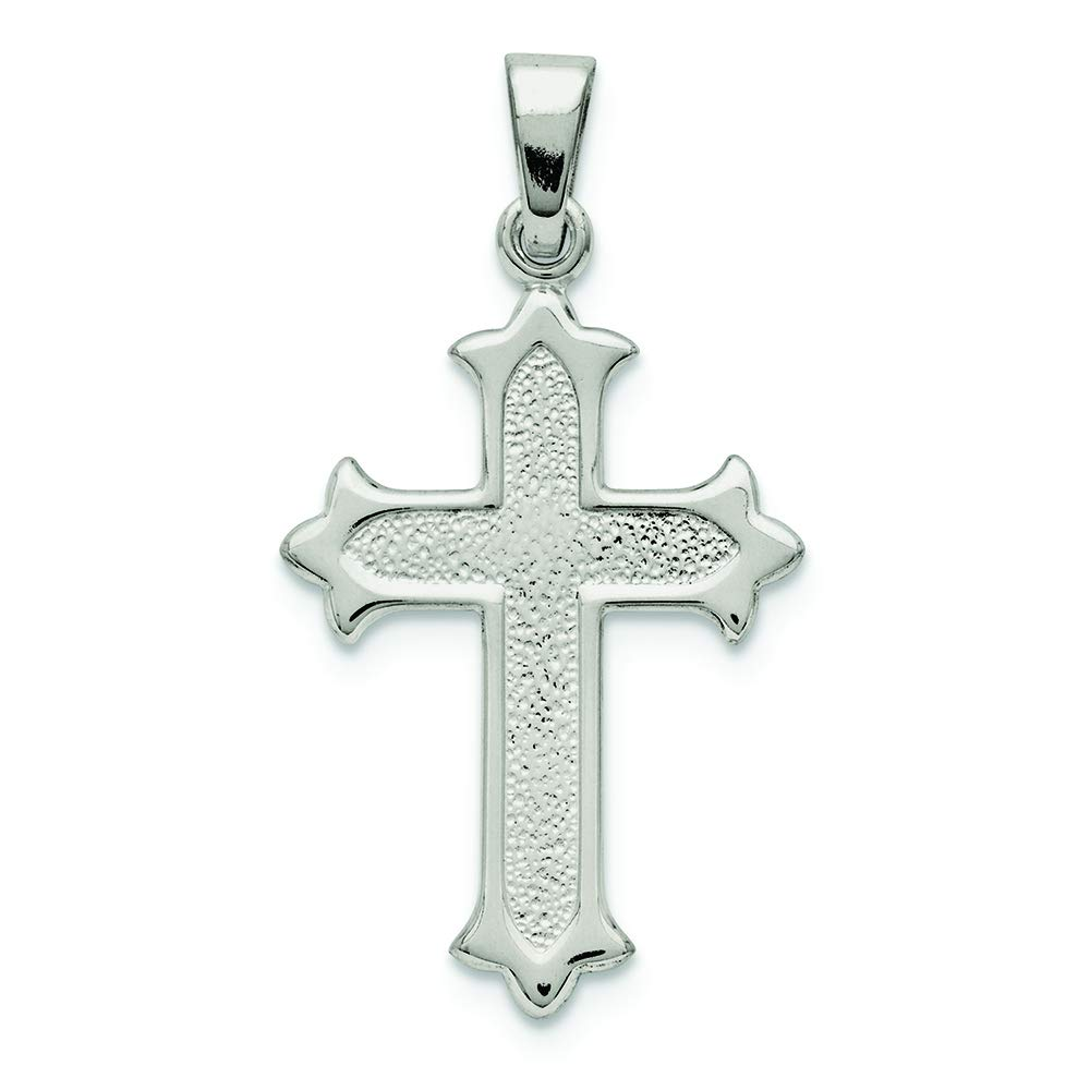 .925 Sterling Silver Budded Cross Charm Pendant