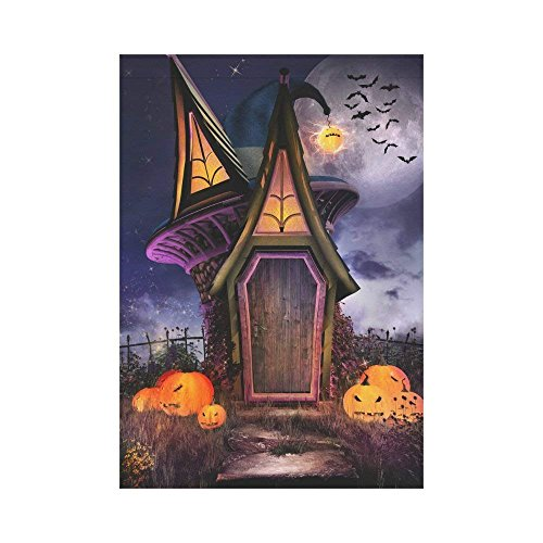 HUVATT Fantasy Witch Hut Polyester Garden Flag Outdoor Banner 28 x 40 inch, Halloween Scene Pumpkin Decorative Large House Flags for Party Yard Home Decor -