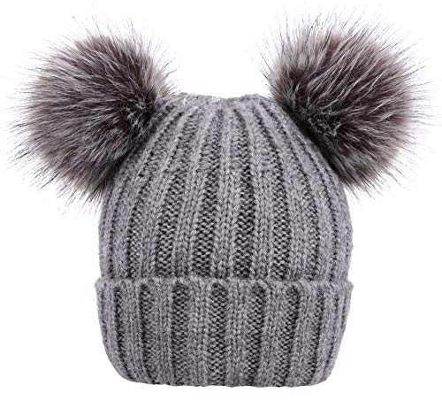 Men & Women's Cable Knit Beanie with Faux Fur Pompom Ears, ()