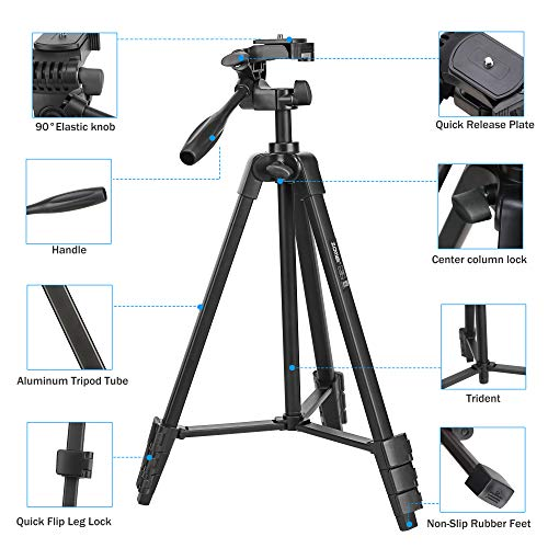 Phone Tripod, Video Tripod for Cellphone,Travel Selfie Tripod for Samsung, Huawei,iPhone,Camera with Bluetooth Remote Control Smartphone Mini Ipad Mount(Black)