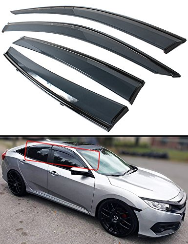 Cuztom Tuning Black Trim Clip on Smoke Tinted Window Visor Rain Guard Deflector Fits for 2016-2019 Honda Civic 4 Door Sedan