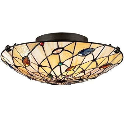 "Quoizel TF1409 Tiffany 2 Light 17"" Wide Flush Mount Ceiling Fixture with Tiffany,"
