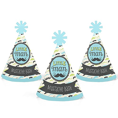 Price comparison product image Dashing Little Man Mustache Party - Mini Cone Baby Shower or Birthday Party Hats - Small Little Party Hats - Set of 10