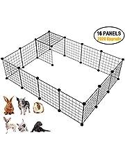 Langxun Metal Wire Storage Organizer na kostki, DIY klatka dla małych zwierząt dla królika, świnki morskiej, szczeniaka   Produkty dla zwierząt Przenośne ogrodzenie z drutu metalowego (czarne, 16 paneli)