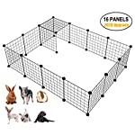 LANGXUN 16pcs Metal Wire Storage Cubes Organizer, DIY Small Animal Cage for Rabbit, Guinea Pigs, Puppy | Pet Products Portable Metal Wire Yard Fence(14″ H)