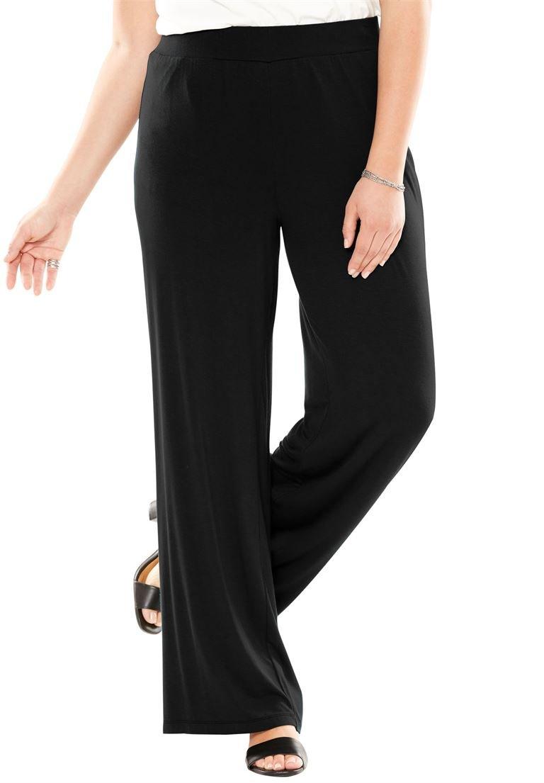 Jessica London Women's Plus Size Everyday Knit Palazzo Pants Black,30/32