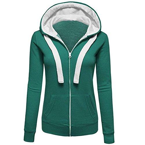 - TIMEMEANS Womens Warm Hoodies Hoody Sweatershirt Hooded Jumper Pullover Coat Zip Jacket Green