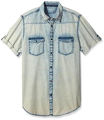 Calvin Klein Jeans Men's Short Sleeve Spray Can Indigo Button Down Shirt