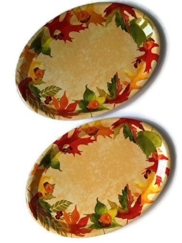 Fall Platter Bundle Thanksgiving Harvest Plastic Holiday Serving Plates Set 2