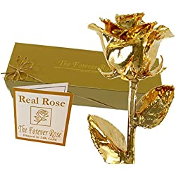 24K Gold Dipped Real Rose w/Gold Gift Box