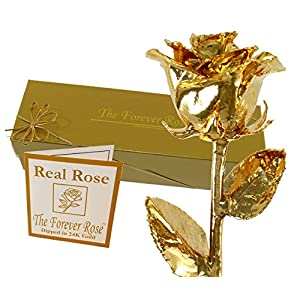 24K Gold Dipped Real Rose w/Gold Gift Box by The Original Forever Rose USA Brand! 92