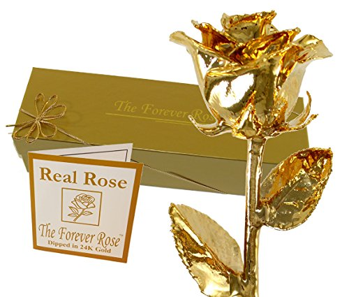 Jewelry Floral Gold Box (24K Gold Dipped Real Rose w/Gold Gift Box by The Original Forever Rose USA Brand!)