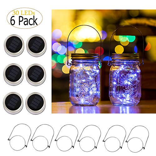 - Ricky Solar Mason Jar Lights, 6 Pack 30 Led String Fairy Star Firefly Jar Lids Lights, Jars Not Included, Best for Mason Jar Decor,Great Outdoor Lawn Decor for Patio Garden, Yard (Cool White)