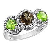 10K White Gold Natural Smoky Topaz & Peridot Sides Round 3-stone Ring Diamond Accents, sizes 5 - 10
