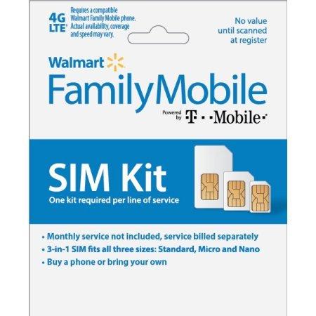 Walmart Family Mobile 3-in-1 SIM Card Starter Kit (by T-Mobile)