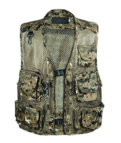 IyMoo Outdoor Quick-Dry Fishing Vest; Multi Pockets Mesh Vest Fishing Hunting Waistcoat Travel Photography Jacket Green Camouflage US S/Label L
