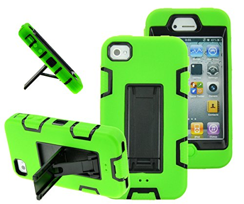 iPhone 4s case, iPhone 4 case, MagicSky Robot Series Hybrid Armor Defender Case Cover with Kickstand for Apple iPhone 4/4S - Green (Neon Iphone 4 Green Case)
