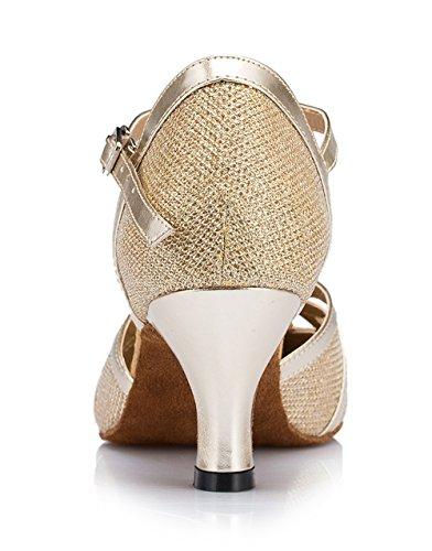 Glitzer Gold qj6133 Schuhe Glitter Minitoo Leder Salsa High Strap Geschlossen Heel nbsp;Damen 7cm Zehen Heel Tango Ballsaal Dance t Latin PU Uda8wqdT