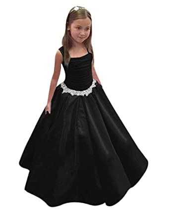 03eb564f8 QueenBridal Satin Flower Girl Dresses Wide Shoulder Straps Pleated Pageant  Ball Gown QB-F01 Black