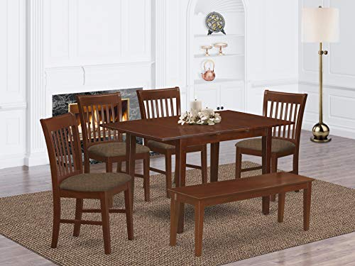 6 Pc Dining room set with bench -Table with 4 Dining Table Chairs and Bench