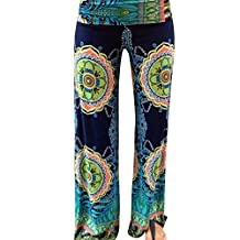 Fashion Story Women Floral Casual Wide Leg Long Stretch Pants Yoga Trousers Baggy
