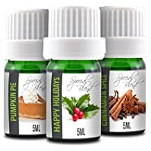 Pumpkin Pie, Happy Holidays and Cinnamon Spice | 3-Pack 5ml Bottles | 100% Pure Therapeutic Grade | Gift Set Essential Oil Bundle