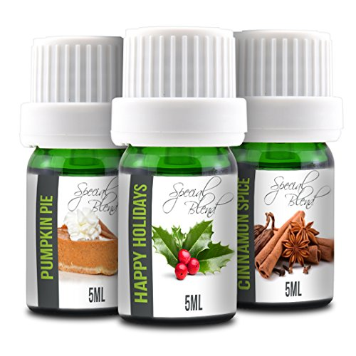 Happy Holidays Set (Pumpkin Pie, Happy Holidays and Cinnamon Spice | 3-Pack 5ml Bottles | 100% Pure Therapeutic Grade | Gift Set Essential Oil Bundle)