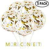 """YIYEE 36"""" Jumbo Confetti Balloons 5 Pack, Clear Balloons With Gold & Silver Confetti Giant Balloons Glitter Balloons For Party Decorations & Wedding Decorations"""