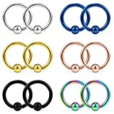 Ruifan 12PCS 316L Surgical Steel Captive Bead Rings Nose Belly Eyebrow Tragus Lip Ear Nipple Hoop Ring BCR 14G 8MM