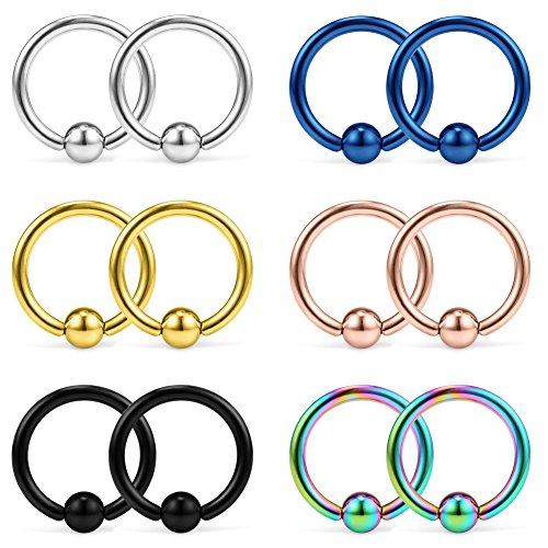 Ruifan 12PCS 316L Surgical Steel Captive Bead Rings Nose Belly Eyebrow Tragus Lip Ear Nipple Hoop Ring BCR 14G 10MM