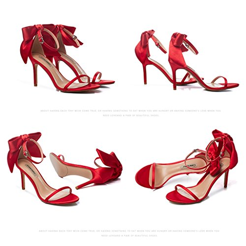 Women student with sexy Size Champagne 5cm 36 bows fine casual shoes high sandals Color Red shoes heels 8 Ctg1zqg