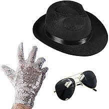 Set of 3 - Fedora Hat Sequin Glove And Sunglasses by Funny Party Hats (Fedora Hat Sequin Glove And Black Sunglasses)
