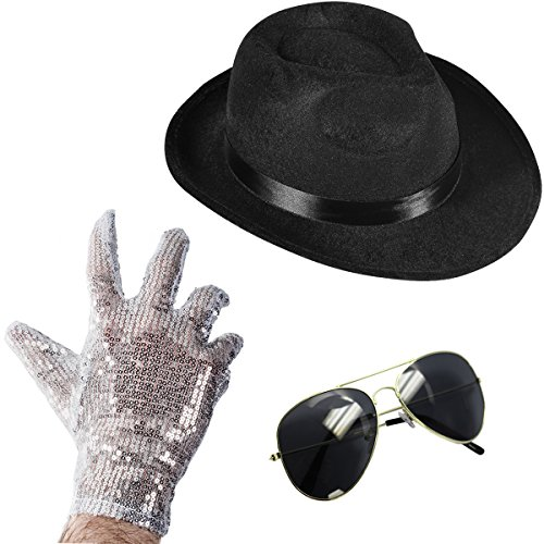Set of 3 - Fedora Hat Sequin Glove And Sunglasses by Funny Party Hats (Fedora Hat Sequin Glove And Black - Sunglasses Jackson Michael