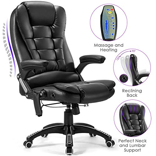 Massage Office Chair, Kealive 400lbs Thick Leather High Back Office Chair, Adjustable Tilt Angle Reclining Executive Swivel Chair with Padding and Ergonomic Design for Lumbar Support