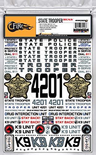 "FireBrand RC • ""State Trooper Decals 1:10 Scale, 8.5"" x 11"" Metallic Inks & DIE-Cut"